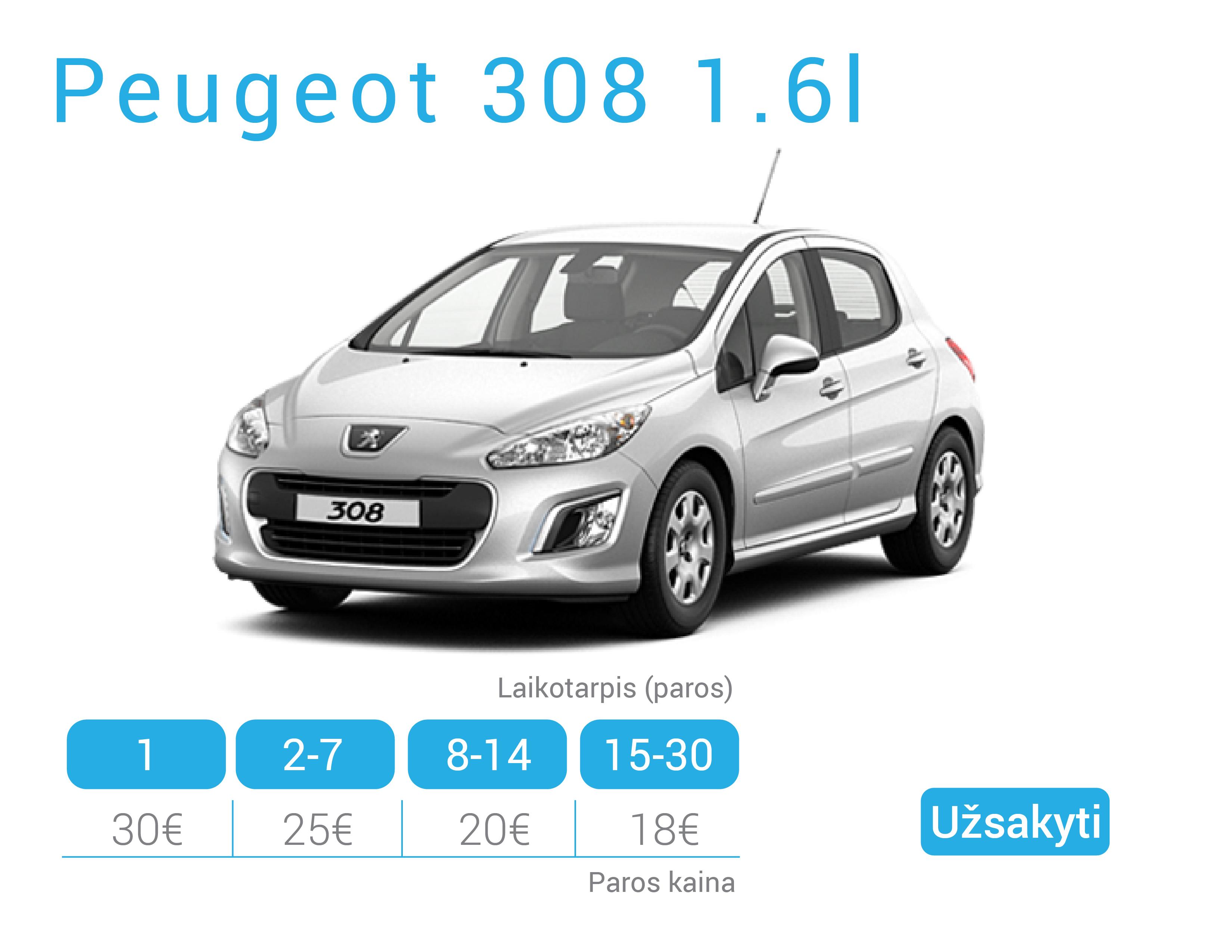 Peugeot 308 nuoma Alytuje
